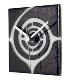 Square Black Glass Wall Clock with White Swirl Design - NVC6677