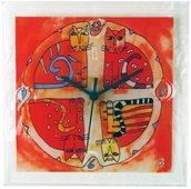Square Glass Wall Clock with Colorful Cat Design - NVC6680