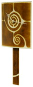 Curved Brown Glass Clock with Pendulum and Swirl Design - NVC6683