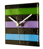 Square Multi-color Glass Wall Clock - Cool Colors - NVC6686