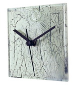 Square White Glass Wall Clock with Cracked Glass Design - NVC6689