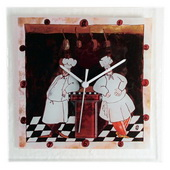 Glass Wall Clock with Two Chefs - NVC6692