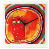 Square Glass Art Clock with Owl - NVC6719