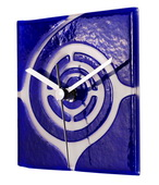Square Blue Glass Wall Clock with White Swirl Design - NVC6728