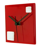 Square Red Glass Wall Clock with White Squares - NVC6746
