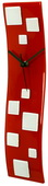 Red Wave Glass Art Clock with White Squares - NVC6749