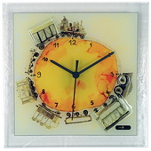 Square Glass Art Clock with Train - NVC6752