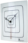 White Glass Art Clock with Black Squares - NVC6761