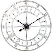 White Rustic Country Style Tower Clock with Fleur-de-lis - NVC6791