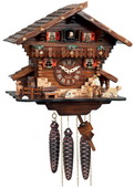 1-Day Musical Cuckoo Clock Cottage with Man Chopping Wood and Waterwheel - NVC6794