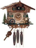 1- Day Musical Cottage Cuckoo Clock with Woodchopper and Waterwheel - NVC6797