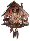 1-Day Musical Cuckoo Clock Cottage with Beer Drinker, Waterwheel, and Dancers - NVC6803