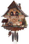 1-Day Musical German Black Forest Cuckoo Clock Cottage - Fisherman Raises Pole and Moving Waterwheel