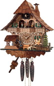 1- Day Musical Black Forest Cuckoo Clock with Dancers, Waterwheel, and Girl on Rocking Horse - NVC68