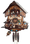 1-Day Musical Cuckoo Clock with Men Sawing Wood, Waterwheel, and Dancers - NVC6812