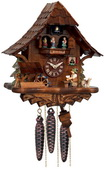 1-Day Musical Beer Drinker Cuckoo Clock with Moving Waterwheel and Dancers - NVC6818