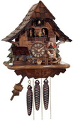 1- Day Musical Cuckoo Clock Cottage with Boy on Rocking Horse, Moving Waterwheel, and Dancers - NVC6