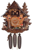 8-Day Musical German Black Forest Cuckoo Clock Cottage - Fisherman Raises Pole and Moving Waterwheel