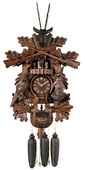 8-Day Musical Hunter's Cuckoo Clock with Dancers - Hand-carved Live Animals, Leaves, and Buck - NVC6