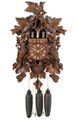 8-Day Musical Cuckoo Clock with Hand-carved Birds, Leaves, and Chicks in Nest - NVC6866