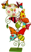 Metal Multicolor Clock with Vines & Butterflies - NVC6893