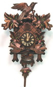 Authentic German Neustadt 17.5in Leaves Moving Birds Painted Flowers 1Day Black Forest Cuckoo Clock