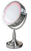 Double Sided Round Illuminated & Dimmable Mirror 1X - 8X Satin Nickel - NZA3054
