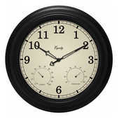 Battle 15.5in Indoor/Outdoor Analog Wall Clock with Temperature and Humidity - PLR6516