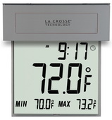 Colyton Large Window Thermometer with Solar Powered Backlight Clock - PLR6398