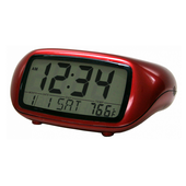 Wycombe LCD Digital Alarm with Temperature in Red - PLR6388