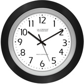 PLR 10in Analog Atomic Black Frame Clock - PLR6596