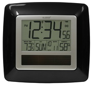PLR Shirebrook Solar Atomic Digital Wall Clock - Black - PLR6438