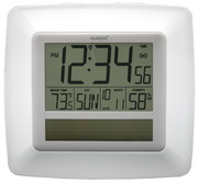 PLR Smethwick Solar Atomic Digital Wall Clock - White - PLR6440