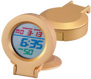 Gold Rainbow Gold Alarm Clock with Assorted LCD Color Display - RCA5616