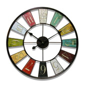 24in Steel Colorful Wall Clock - TFT5882