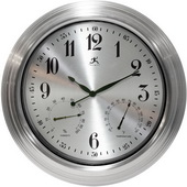 18.5in Indoor/Outdoor Wall Clock With Hygrometer & Thermometer Steel Clock - TFT5851