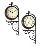 Indoor/outdoor Bracket Mounted Wall Clock and Thermometer - TFT6000