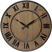 24in Wood and Steel Wall Clock Wine Barrel - TFT5863