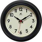 8.5in Black Silent Sweep Wall Clock - TFT6036