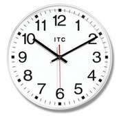12in White Office Style Wall Clock - TFT6110