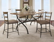 Charleston 5-Piece Counter Height Rectangle Wood Dining Set w/Ladder Back Stool - THD3986