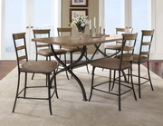 Charleston 7-Piece Counter Height Rectangle Wood Dining Set w/Ladder Back Stool - THD3988