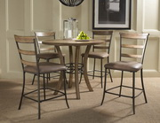 Charleston 5-Piece Counter Height Round Wood Dining Set w/Ladder Back Stool - THD3992