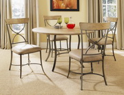 Charleston 5-Piece Round All Metal Base w/Wood Top and X-Back Chairs - THD3996