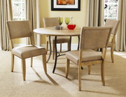 Charleston 5-Piece Round All Metal Base w/Wood Top and Parson Chairs - THD3998