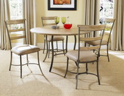Charleston 5-Piece Round All Metal Base w/Wood Top and Ladder Back Chair - THD4000
