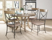 Charleston 5-Piece Round Wood Base Dining Set w/X-Back Chair - THD4018