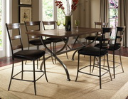Cameron 7-Piece Counter Height Rectangle Wood Dining Set w/Ladder Back Stool - THD3924
