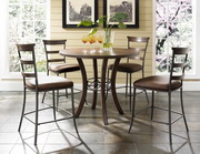 Cameron 5-Piece Counter Height Round Wood Dining Set w/Ladder Back Stool - THD3928