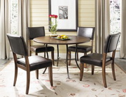 Cameron 5-Piece Round All Metal Base w Wood Top & Parsons Chairs - THD3934